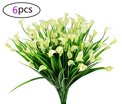 EDINSY Artificial Flowers Plants 6Pcs Calla Lilly Vase Herbs Plastic Leaves Fake Bushes Greenery for Window Box Yard Indoor Garden Office Balcony Decoration Wedding Decor(White)