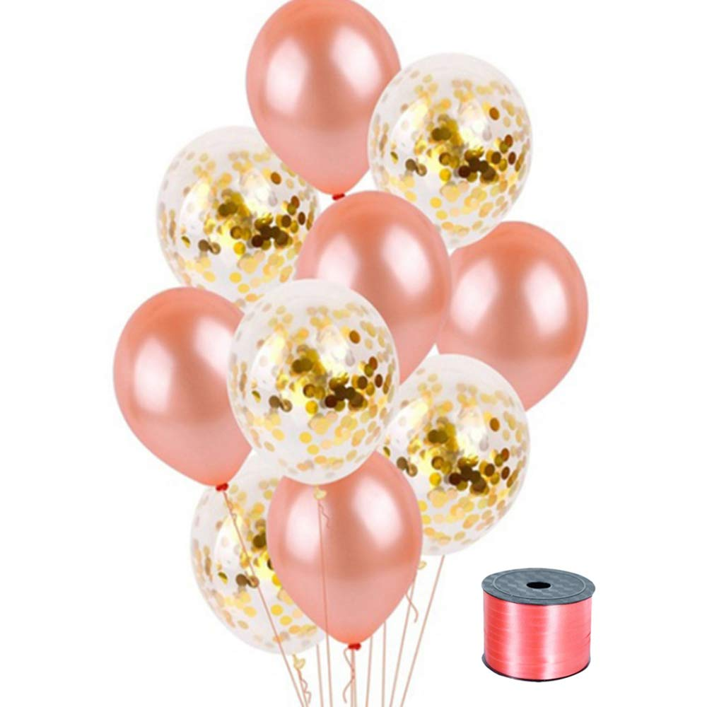 Rose Gold Balloons /& Gold Confetti Balloons 10pcs 12 inch Latex 295ft Ribbon Smile Bunny Ears Headband Partypop Happy Birthday Banner Sets