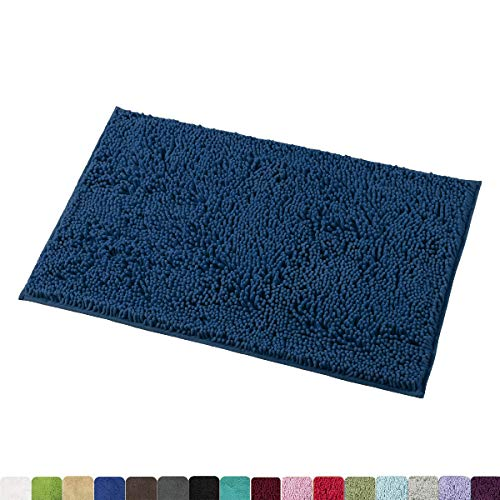 (MAYSHINE 20x32 inch Non-Slip Bathroom Rug Shag Shower Mat Machine-Washable Bath mats with Water Absorbent Soft Microfibers of - Dark Blue)