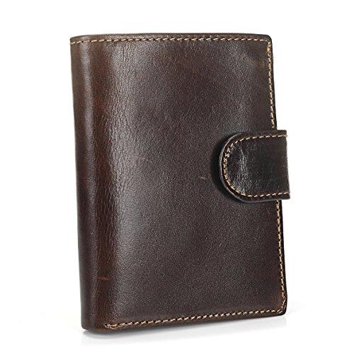 BestFire Herren Leder Trifold Geldbörse Retro Kartenhalter Kompakt Geldbörse
