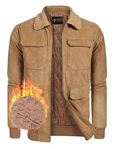 Suede Two Pocket Coat (Simbama Men's Faux Suede Fur Collar Zipper Winter Jacket Coat)
