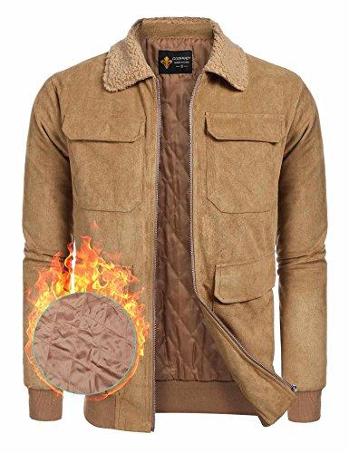 - COOFANDY Men's Quilt Lined Faux Suede Sherpa Jacket Winter Outwear Trucker Coat