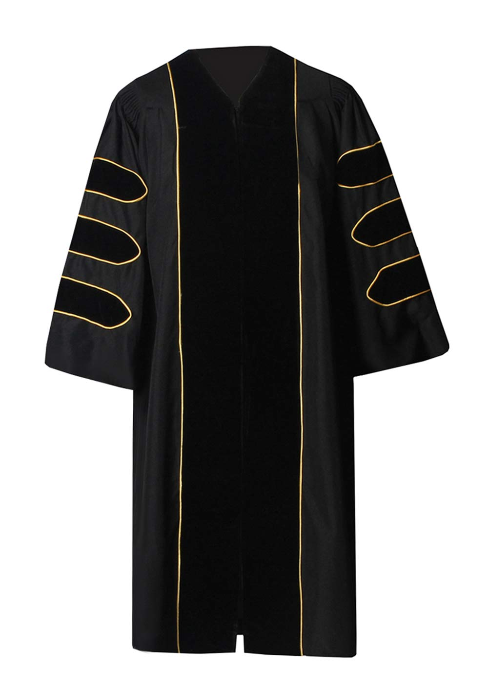 GraduationForYou Unisex Deluxe Doctoral Gown with Gold Piping and Doctoral 8-Side Tam Package,Customized Acceptable