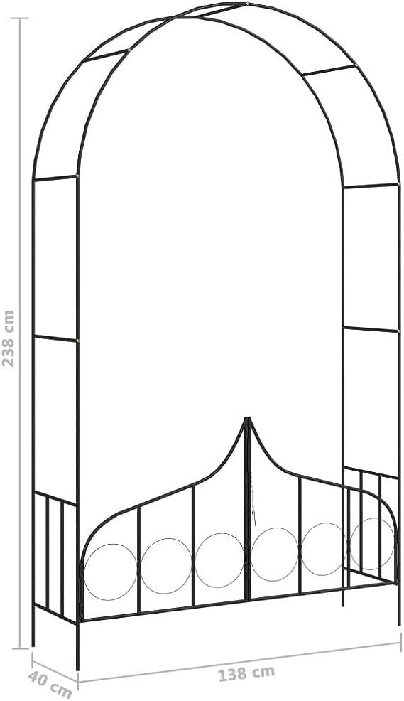 Goliraya - Arco de jardín con puerta de hierro negro, pérgola ...