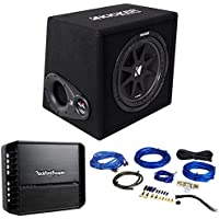 Package: KICKER 43VC124 Comp Dual 4-Ohm 12 Subwoofers In Vented Sub Enclosure + Rockford Fosgate P300X1 Punch Series 300 Watt Monoblock Car Amplifier + RWK81 8 Gauge 2 Channel Complete Wire Kit