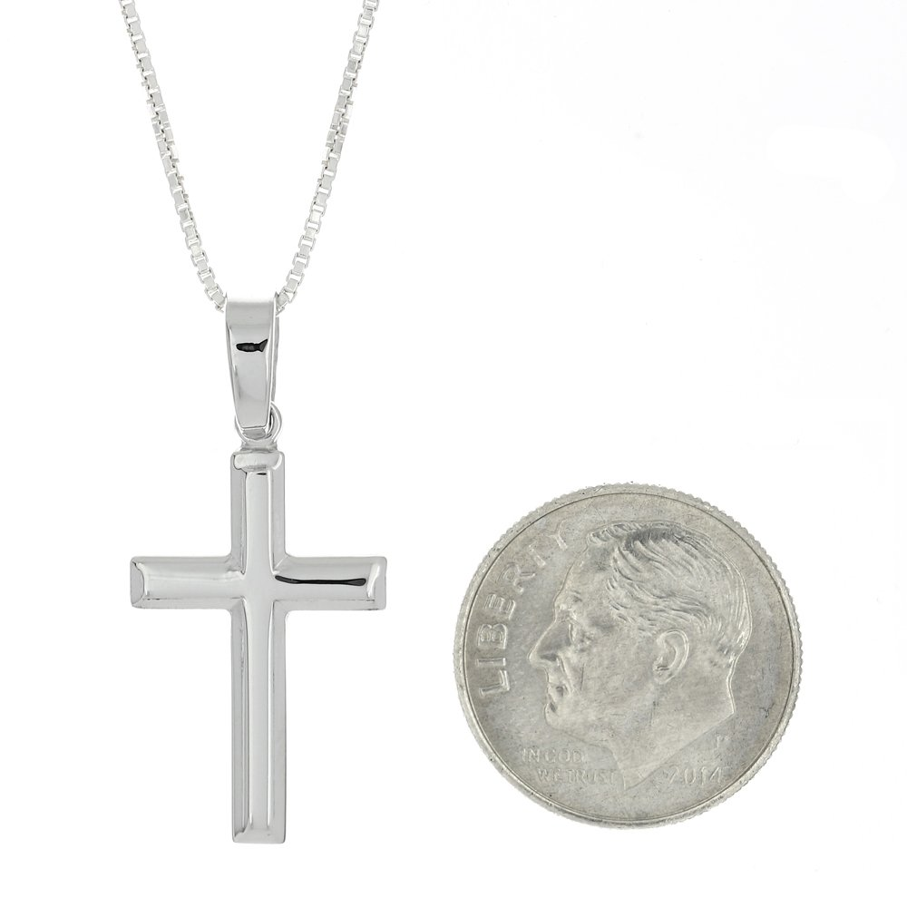 Sterling Silver Rhodium Plated Beveled Shape Plain Cross Pendant Natural Polished Necklace