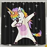 Rdsfhsp Unicorn Cute Dabbing Funny Dab Dance Gift Bath Shower Curtain Fabric Bathroom Curtain Set with Hooks
