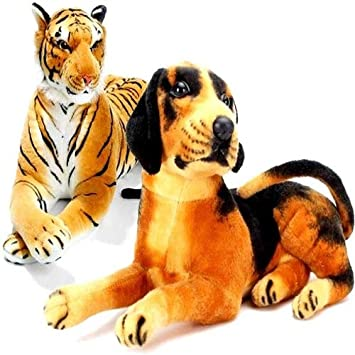 Agnolia Gift Gallery Stuffed Soft Animal Toy for Kids/Birthday Gift/Boy/Girl Combo of Tiger and Black Dog- 32cm