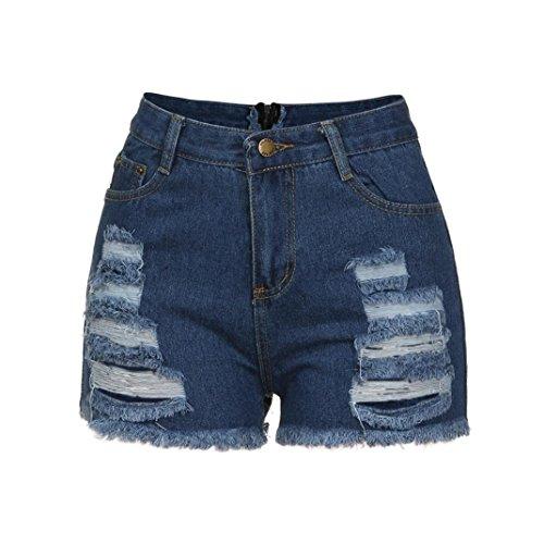 Blu Donna Shorts Eleganti Ragazza Jeans Vita Scuro Alta Uomogo Strappati Pantaloncini qzB4pdw