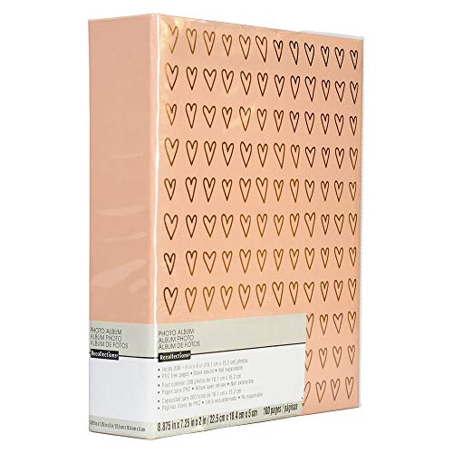 (Rose Gold Pink Hearts Photo Album Holds 200 4