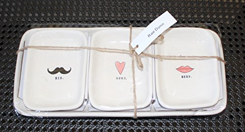 Rae Dunn HIS OURS HERS in typeset with Black Mustache, Pink Heart, and Red Lips 3 bowl Valentines Day Snack Dessert Organizer Set with Large Tray. By Magenta. by Rae Dunn by Magenta