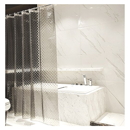 RH Art Waterproof EVA Shower Curtain Liner with Hooks - 72 x 72 inches, Smokey-grey Diamond Plaid
