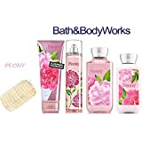 Bath & Body Works PEONY Deluxe Gift Set Lotion ~ Cream ~ Fragrance Mist ~ Shower Gel + FREE Sisal Sponge Lot of 5