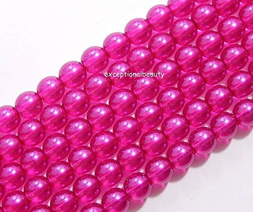 - 100 Cultura Preciosa Czech Pearls Bright Fuchsia Pink On Crystal 6mm Pearl Beads