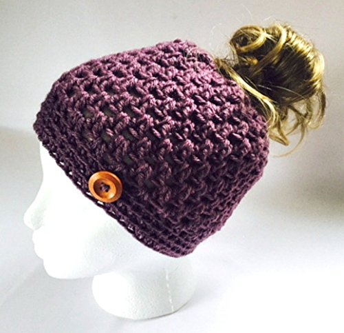 Handmade Messy Bun Hat Purple Beanie Wood Button Pony Tail Holder Crochet Cloche
