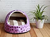 1 Pcs Foremost Popular Pet Half Covered Bed Size S Soft Fabric Portable Couch Indoor Kennel Color Type Purple