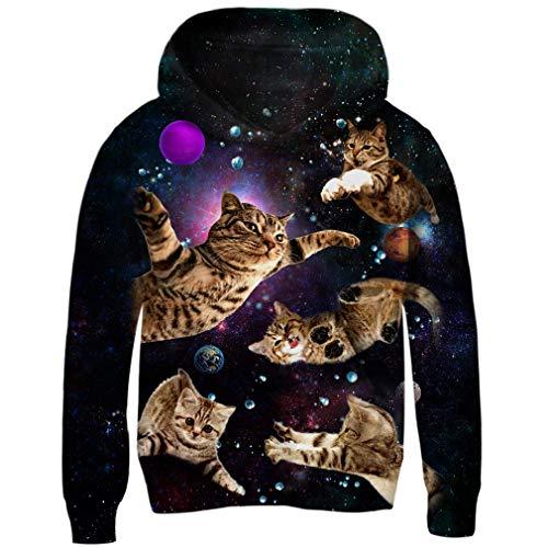 BeautyOriginal Unisex 3D Digital Print Pullover Hooded Sweatshirt Pocket Hoodies(Space Cat XX-Large(11-14 Years Old))