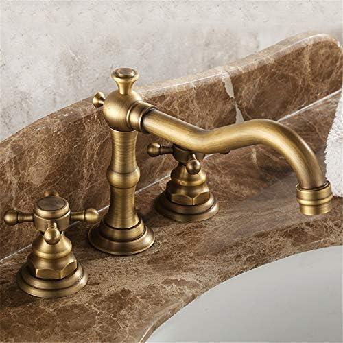 蛇口 アンティーク銅ツーハンドルの浴室のシンクの蛇口の三穴の蛇口トイレ商業現代 浴室のための現代商業台所 (色 : Gold A, Size : Free size)