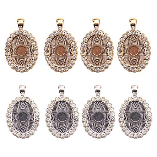 JETEHO 6 Pack Gold and Silver Rhinestone Bezel Pendant Trays Blanks Oval Cabochon Pendant Setting for Jewelry Making DIY Crafting Photo Cameo ()
