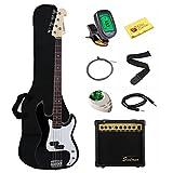 Stedman Beginner Series Bass Guitar Bundle with 15-Watt Amp, Gig Bag, Instrument Cable, Strap, Strings, Picks, and Polishing Cloth - Black
