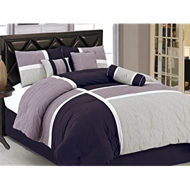 Chezmoi Collection 7-Piece Quilted Patchwork Comforter Set, Lavender Purple, California King