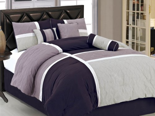 Chezmoi Collection 7-Piece Quilted Patchwork Comforter Set, Lavender Purple, Full (Purple Full Bedding Sets)