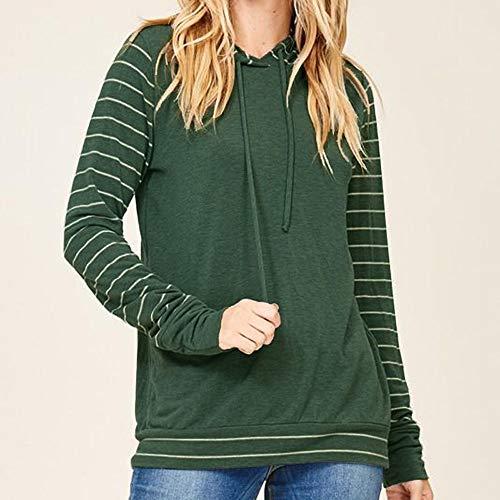 Sweat Bloc Manches Chemise Shirt Tops et Capuche Femmes pour Capuche Vert Serrage Longue Hauts Chic Longues de Cordon Haut Sweat Couleur Rayures de Femmes Pull Manche Femme nxHwOwq