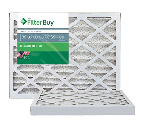 FilterBuy 14x20x2 MERV 13 Pleated AC Furnace Air Filter, (Pack of 2 Filters), 14x20x2 – Platinum by FilterBuy