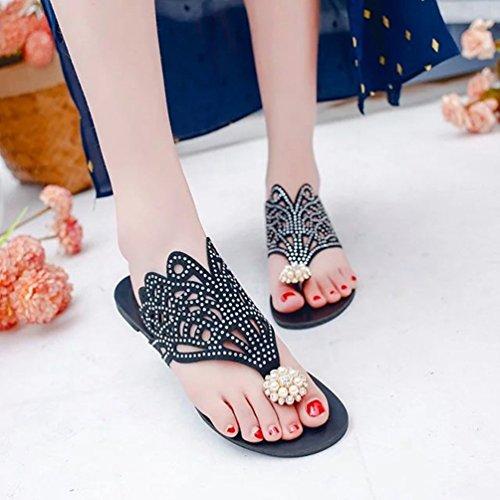 Pantoufles de Élégant Pantoufle Noir Femme de Kairuun Plage Strass l'été Rome Chaussures Chaussons 4wgnp