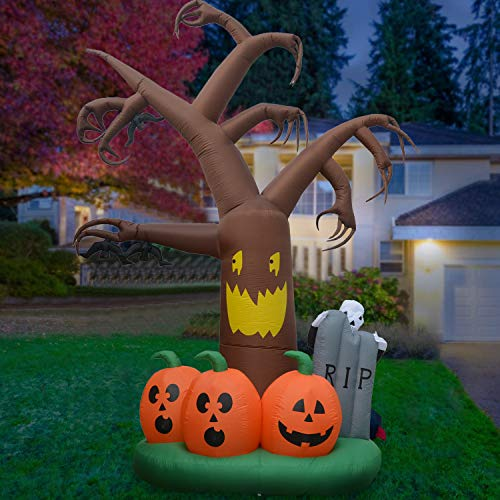 DIGIANT 12 Foot Halloween Inflatable Dead Tree Air Blown Spooky Tree Pumpkins, Ghost, Tombstone Lighted Home Yard Garden Indoor Outdoor -