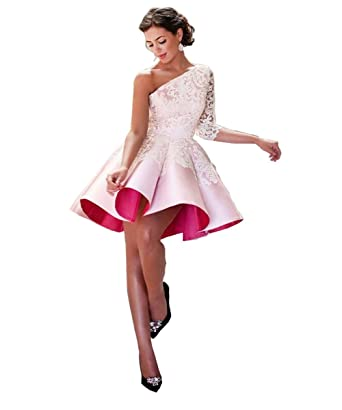 DYS Dresses Womens One Shoulder Lace Prom Dresses US2 Pink