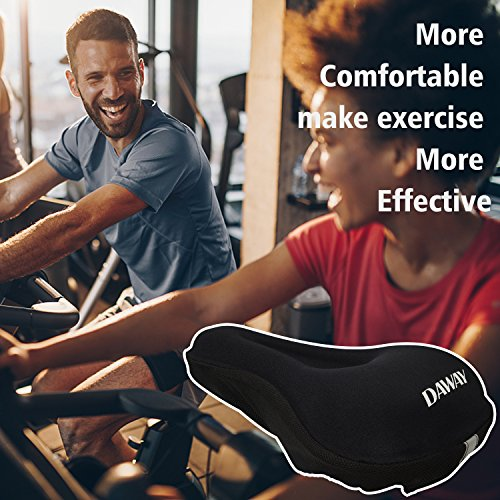 DAWAY Comfortable Bike Seat Cover - C7 Soft Gel & Foam Padded Exercise Bicycle Saddle Cushion Men Women Kids, Fit Spin Class, Stationary Bike, Mountain Road Bikes, Outdoor Cycling, 1 Year Warranty by DAWAY (Image #5)