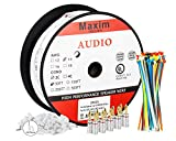 In Wall Speaker Wire   50 Feet   14AWG CL3 Rated 2-Conductor Wire White Oxygen Free Copper includes banana plugs cable clips and ties