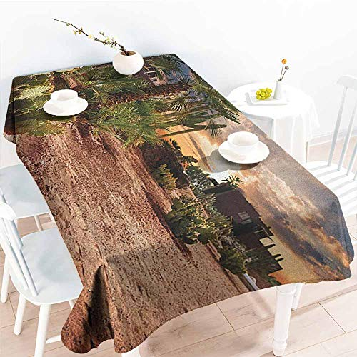 Oasis Striped Satin - EwaskyOnline Spill-Proof Table Cover,Desert Majestic Sky View Palm Trees and Cactus in Oasis Morocco Tropic Nature,Party Decorations Table Cover Cloth,W54x72L, Blue Green Pale Brown