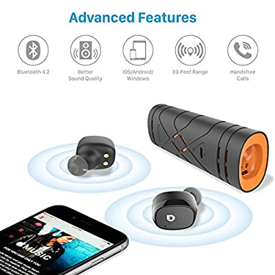 True Wireless Earbuds by MarsMade, Bluetooth Earbuds Headset with Charging Energy Station, Sweatproof Bluetooth 4.2 Headphones for iPhone Androids Smartphones, Earphones w/ Mic - MM500