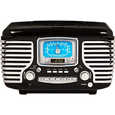 Corsair Retro AM/FM Dual Alarm Clock Vintage Radio with CD Player and Bluetooth