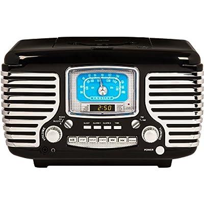 Corsair Retro AM/FM Dual Alarm Clock Vintage Radio with CD Player and Bluetooth