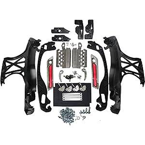 ZXMOTO Motorcycle Chrome Saddlebag Lids Hardware Latch for Harley 2014-2018