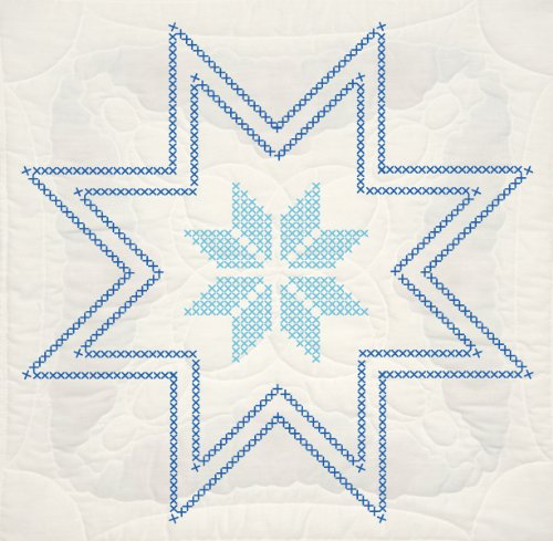 - Fairway 92696 Quilt Blocks, Cross Stitch Star Design, White, 6 Blocks Per Set