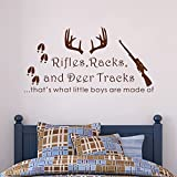 "Wall Decal Decor Rifles Racks, Deer Tracks That's What Little Boys Are Made Of - Baby Boy Nursery Decor - Hunting Theme Camo Deer Room Crib(Black, 18""h x34""w)"