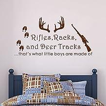 "Wall Decal Decor Rifles Racks, Deer Tracks That's What Little Boys Are Made Of - Baby Boy Nursery Decor - Hunting Theme Camo Deer Room Crib(Black, 18""h x34""w)"