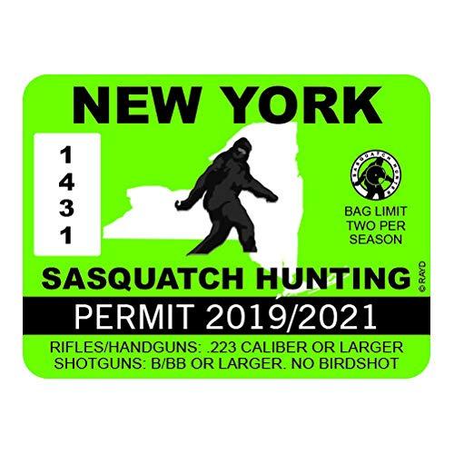 "RDW New York Sasquatch Hunting Permit - Color Sticker - Decal - Die Cut - Size: 4.00"" x 3.00"""