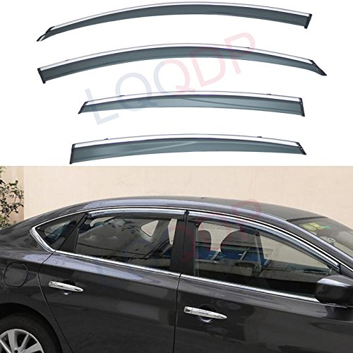 LQQDP 4pcs Smoke Tint With Chrome Trim Outside Mount Tape On/Clip On Style PVC Sun Rain Guard Vent Shade Window Visors Fit 13-18 Nissan Altima 4-Door Sedan (2018 Nissan Altima Rain Guards)