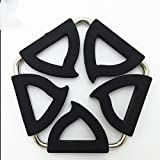 XUEXIN (Set of 4) peach-shaped pentagonal creative and amazing stainless steel silicone pot holder and amazing insulating mat folded heat-resistant coasters , black