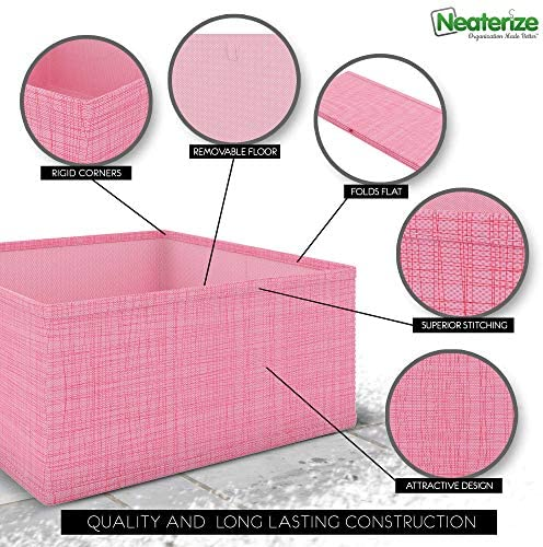 NEATERIZE Drawer Organizer - [Set of 12] - Closet Organizer and Storage Baskets| Foldable Cloth Drawers Divider | Fabric Bin for Dresser & Shelves |Organize Underwear, Socks, Bra, & Tie's (Pink)