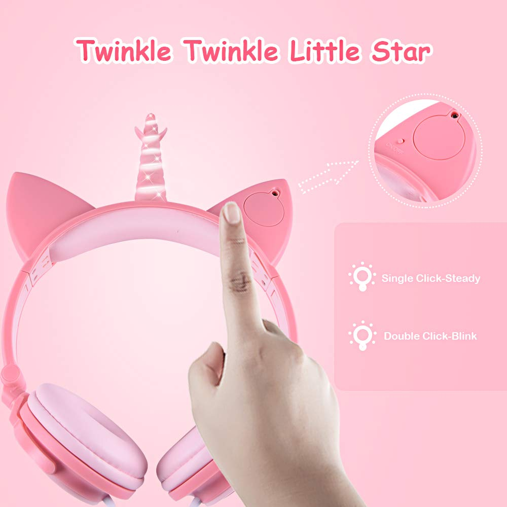esonstyle Unicorn Kids Headphones, Over Ear with LED Glowing Cat Ears,Safe Wired Kids Headsets 85dB Volume Limited, Food Grade Silicone, 3.5mm Aux Jack.Cat-Inspired Headphones for Girls (Peach) by esonstyle (Image #4)