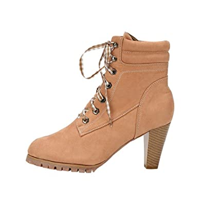 bf0e13e95b Amazon.com | Creazrise Women's Pointed Toe Ankle Booties Lycra Lace Up Side  Zipper Pencil Stiletto Heel Boots (Brown, 7) | Mid-Calf