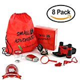 glass bird whistle - 8 in 1 Outdoor Exploration Kit, Children's Toy Binoculars Set for Kids - Flashlight, Compass, Whistle, Magnifying Glass. Kids Set for Camping, Hunting, Hiking & Bird Watching. Pretend Play.