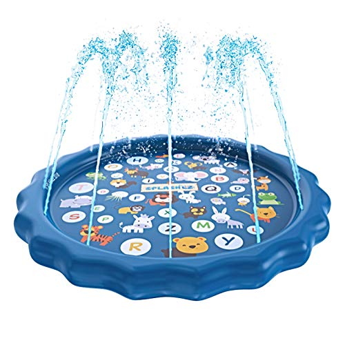 "SplashEZ 3-in-1 Sprinkler for Kids, Splash Pad, and Wading Pool for Learning – Children's Sprinkler Pool, 60'' Inflatable Water Toys – ""from A to Z"" Outdoor Swimming Pool for Babies and Toddlers ()"
