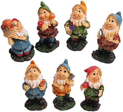 Juego de gnomos de jardín de miniatura, de siete enanitos, con setas y herramientas (7pcs): Amazon.es: Jardín